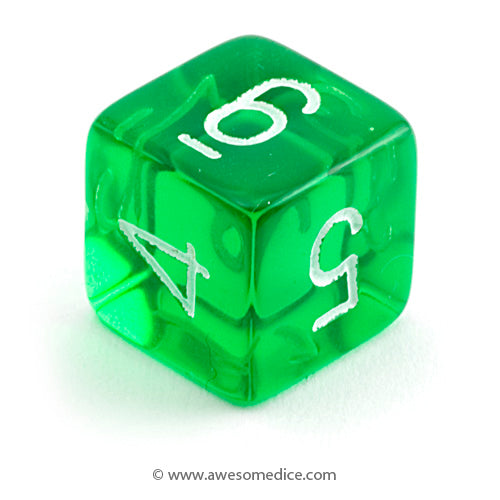 Single Translucent Green d6