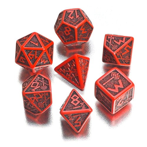 Dwarven Red & Black 7-Dice Set