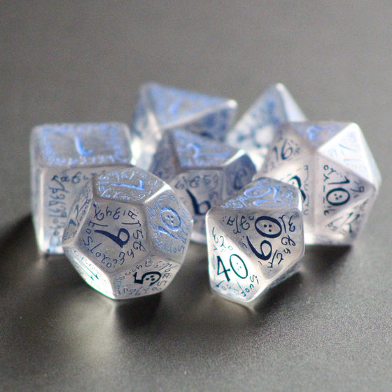 Elven Translucent Blue 7-Dice Set