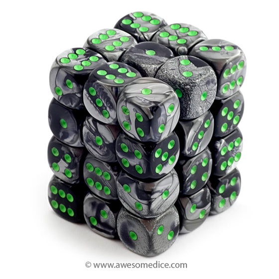 Gemini Black-Grey 36d6 Dice Set
