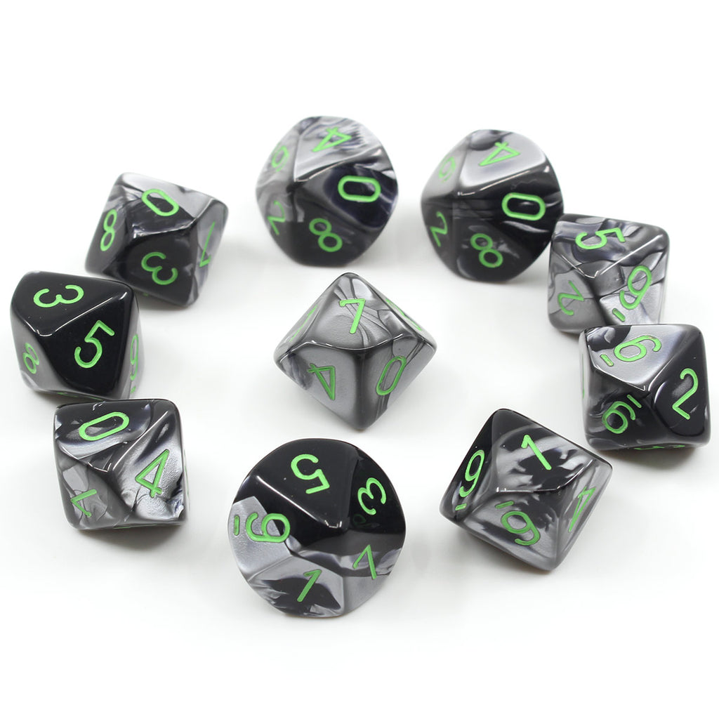 Gemini Black-Grey 10d10 Dice Set