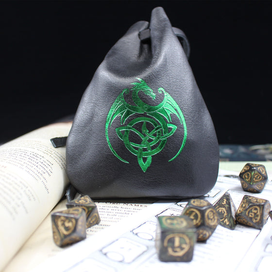 Green Celtic Dragon Leather Dice Bag