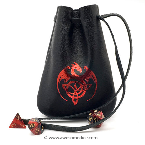 Red Celtic Dragon Leather Dice Bag