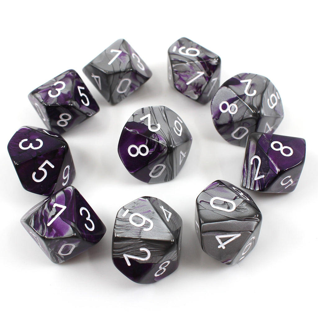 Chessex Gemini Purple Steel 10d10 Dice Set