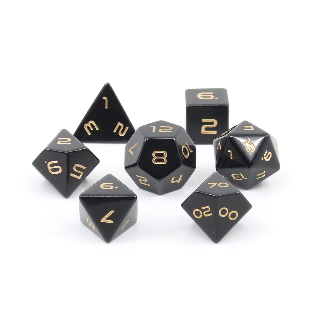 obsidian gemstone 7-dice set