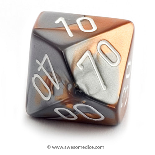 Single Gemini Copper-Steel d10 Percentile