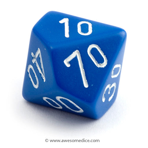Single Opaque Blue d10 Percentile