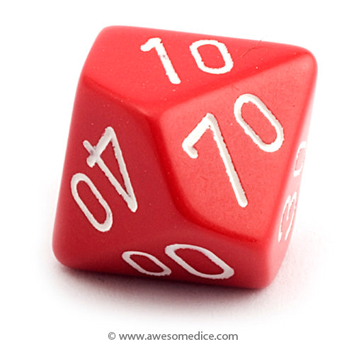 Single Opaque Red d10 Percentile