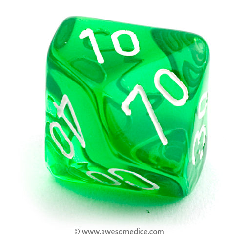 Single Translucent Green d10 Percentile