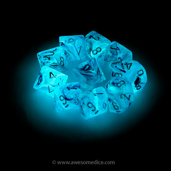 Pink Ghostly Glow 10d10 Dice Set
