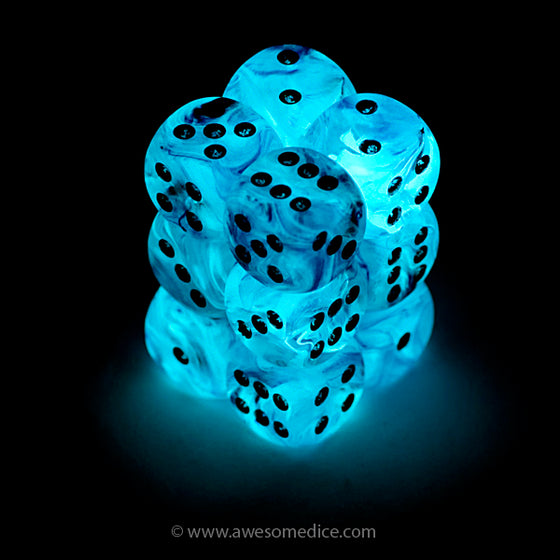 Pink Ghostly Glow 12d6 Dice Set