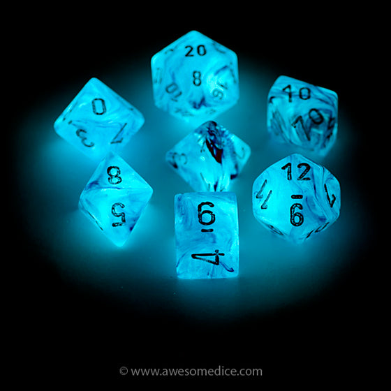 Pink Ghostly Glow in the Dark 7-Dice Set