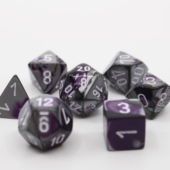 Gemini Purple-Steel 7-Dice Set