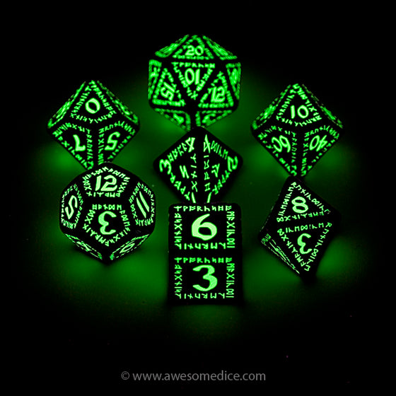 Runic Glow in the Dark 7-Dice Set
