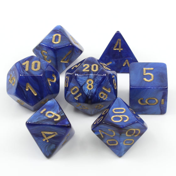 Scarab Royal Blue 7-Dice Set