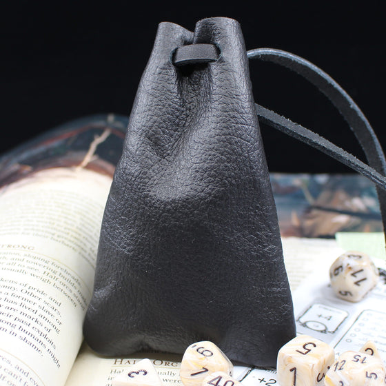 Small Black Leather Dice Bag