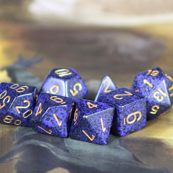 Speckled Golden Cobalt 7-Dice Set