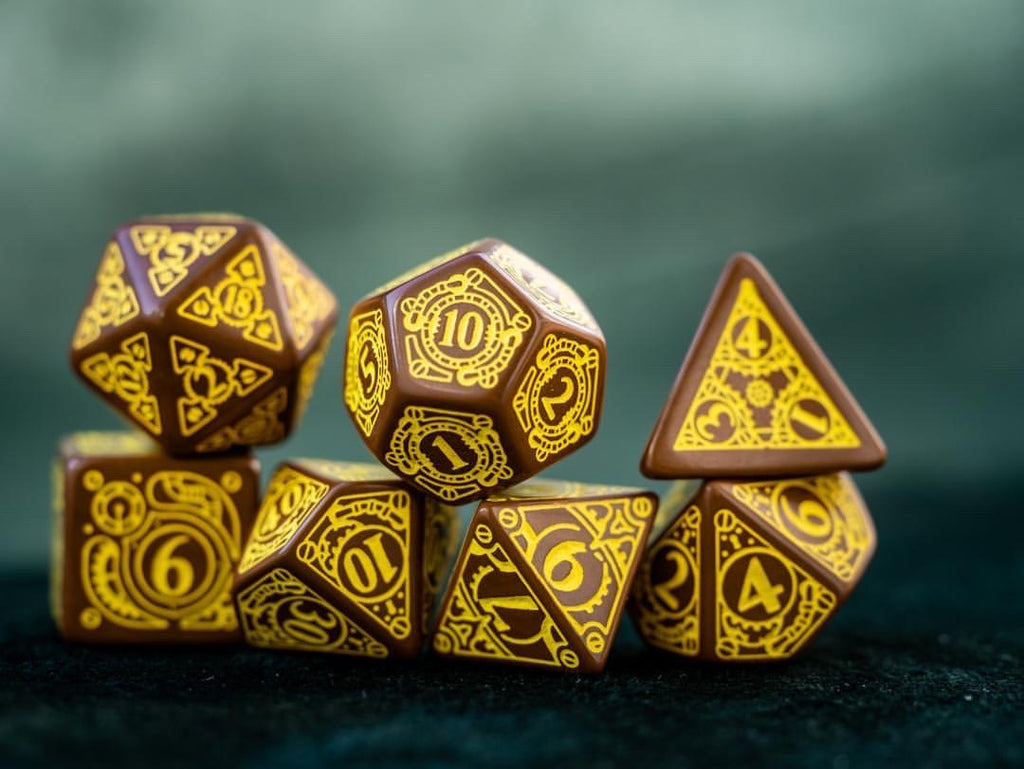 Steampunk Brown & Yellow 7-Dice Set