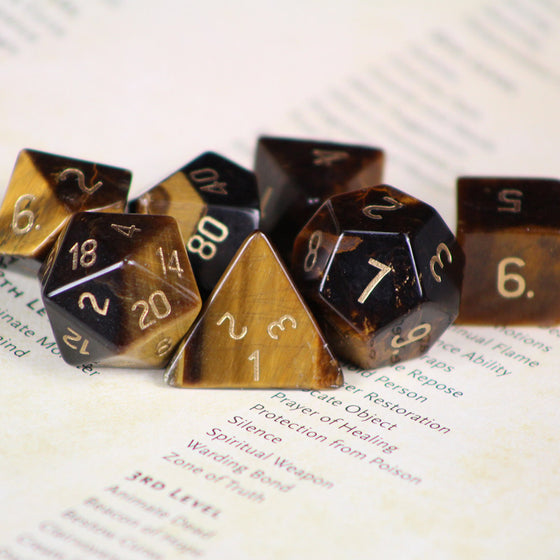Tiger's Eye Stone Dice Set