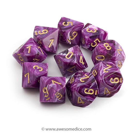 Vortex Purple 10d10 Dice Set