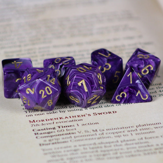 Vortex Purple 7-Dice Set