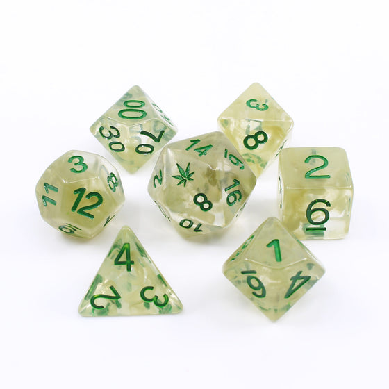 "Preorder Now: ""Bardic Inspiration"" Cannabis-themed Dice Set"