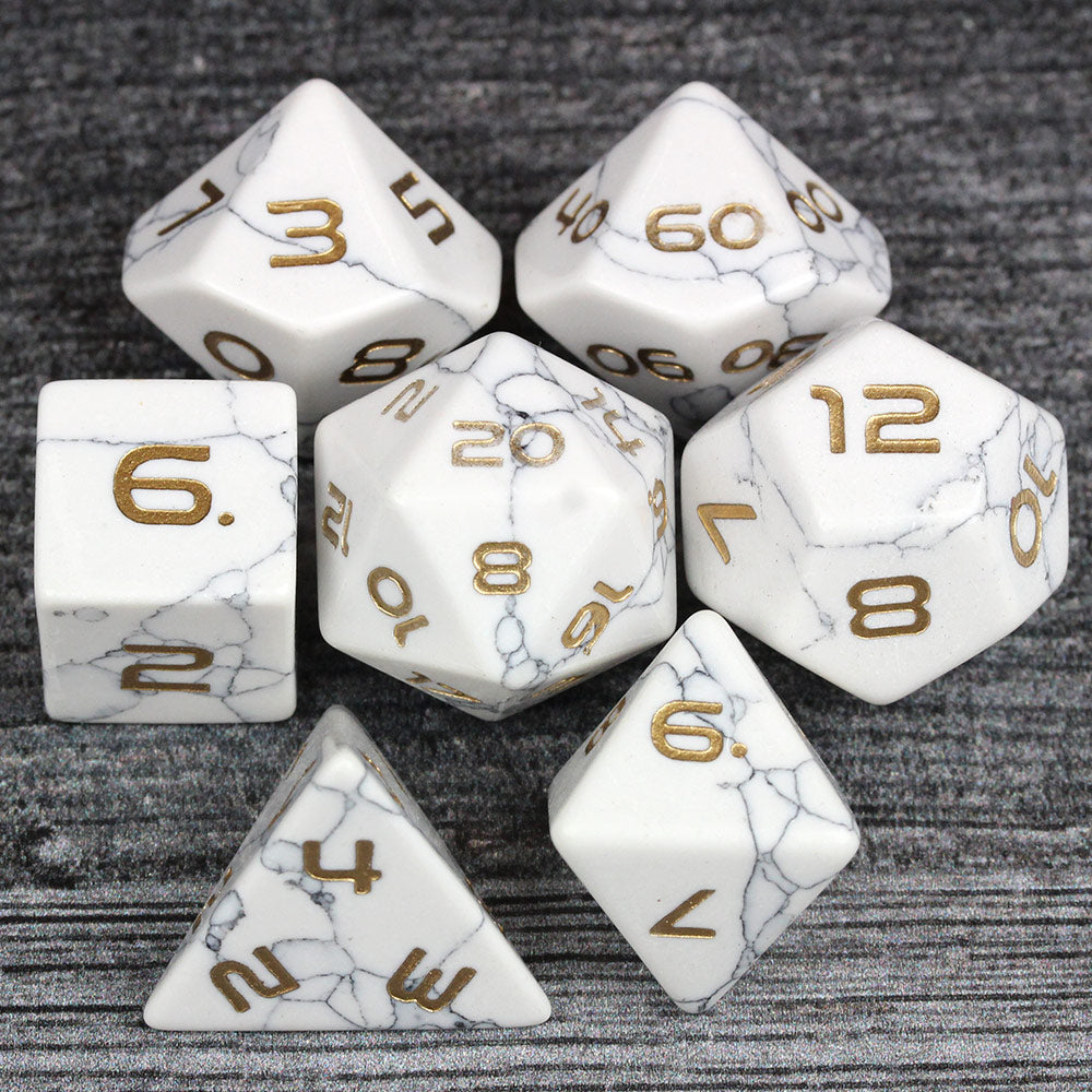 White Howlite Gemstone Dice