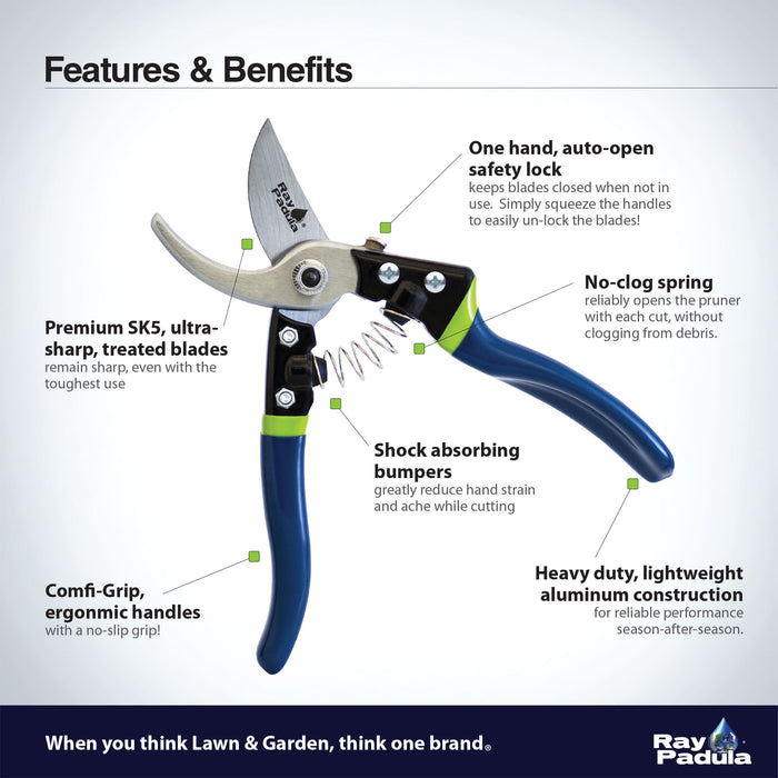 Premium Auto-Open Bypass Pruner and Drop Forged Precision Snips Set (2-Pack)