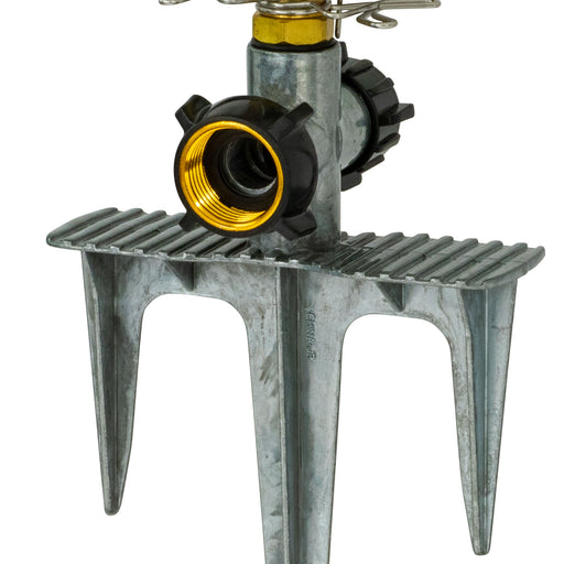 Brass Pulsating Sprinkler on PRO In-Series 3-Prong Step Spike