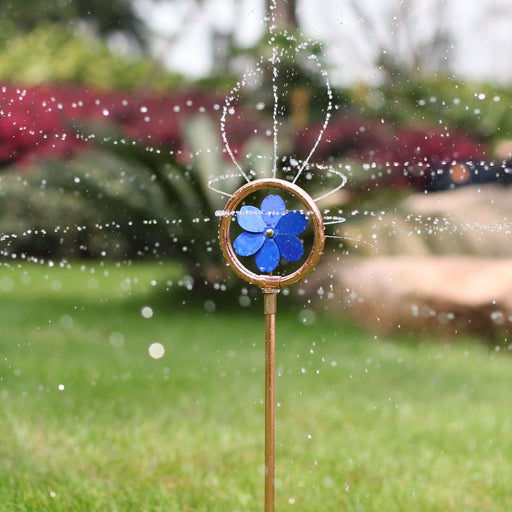 24 in. Mini Decorative Revolving Sprinkler on In-Series Spike (blue)