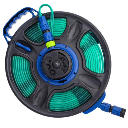 50 ft. 2-in-1 Flat Hose with 8-Pattern Sprinkler on Built-in Hose Reel
