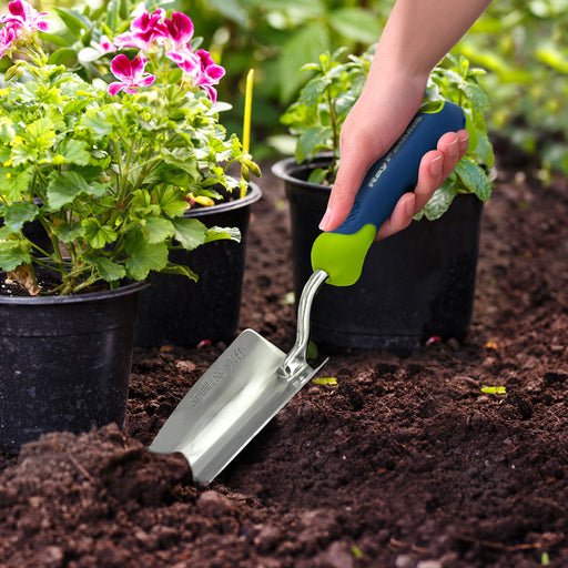 Stainless Steel Comfi-Grip Handheld Garden Tool Trowel, Cultivator, Weeder, and Rake Set (4-Pack)