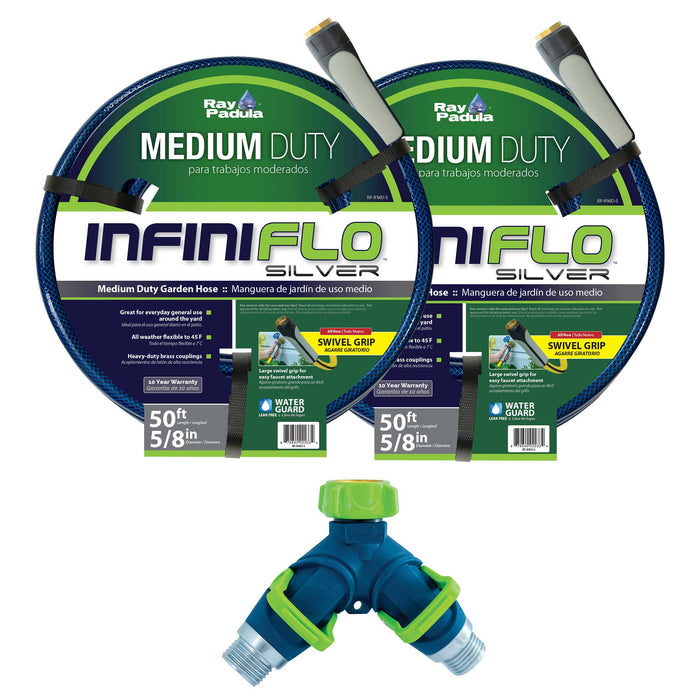 5/8 in. x 50 ft. Medium Duty Garden Hose with Thumb Control 2-Way Splitter Set (3-Pack)