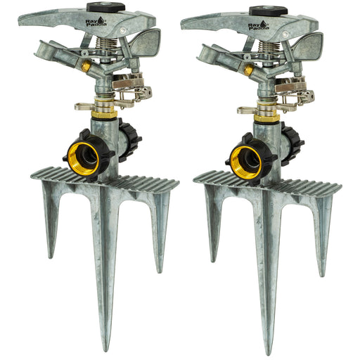 Deluxe Metal Pulsating Sprinkler on In-Series Metal 3-Prong Step Spike (2-Pack)