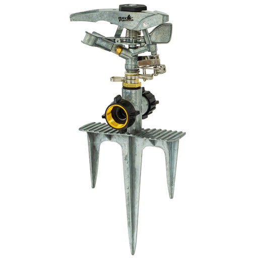 Deluxe Metal Pulsating Sprinkler on In-Series Metal 3-Prong Step Spike