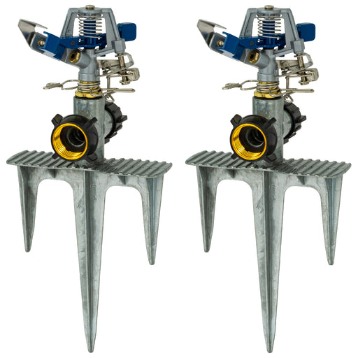 Classic Metal Pulsating Sprinkler on 3-Prong In-Series Metal Step Spike (2-Pack)