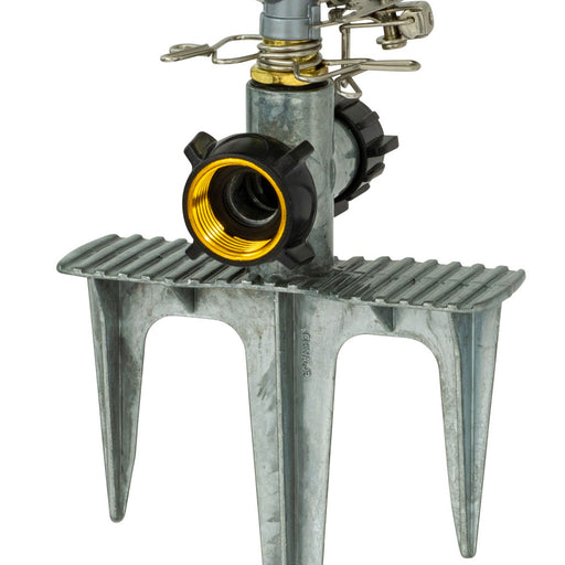 Classic Metal Pulsating Sprinkler on 3-Prong In-Series Metal Step Spike