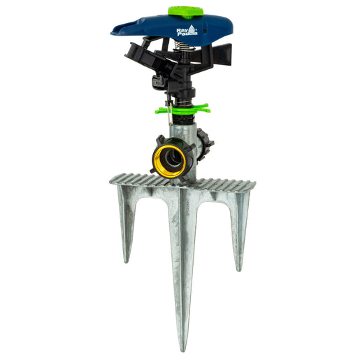 Deluxe Plastic Pulsating Sprinkler on In-Series 3-Prong Step Spike