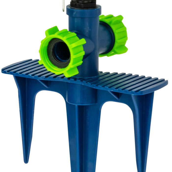 Plastic Pulsating Sprinkler on In-Series 3-Prong Step Spike