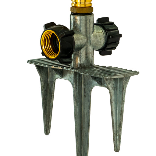 Brass 2-Arm Revolving Sprinkler on In-Series 3-Prong Metal Step Spike