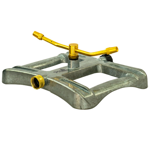 Brass 2-Arm Revolving Sprinkler on In-Series Deluxe Metal Sled Base