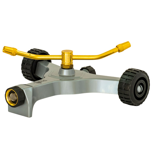 Brass 2-Arm Revolving Sprinkler on Metal In-Series Wheel Base