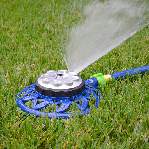 8-Pattern, 2-in-1 Turret and Spinning Sprinkler on Metal Decorative Base