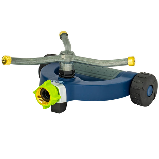Metal Classic 3-Arm Revolving Sprinkler on Modern Weighted Wheel Base