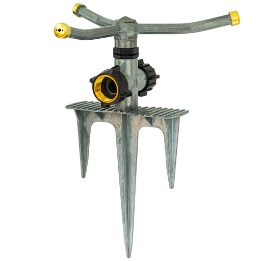 Metal Classic 3-Arm Revolving Sprinkler on In-Series Metal 3-Prong Step Spike