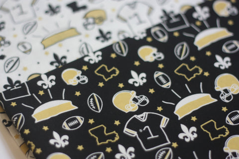 Fabric: Home Team in Black | 100% Cotton Woven Fabric