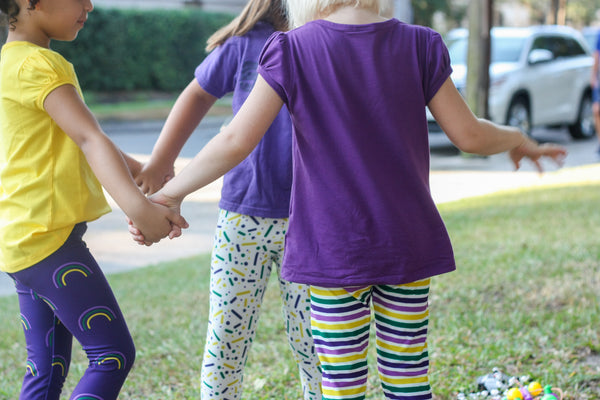 Mardi Gras Leggings: King Cake Sprinkles Print