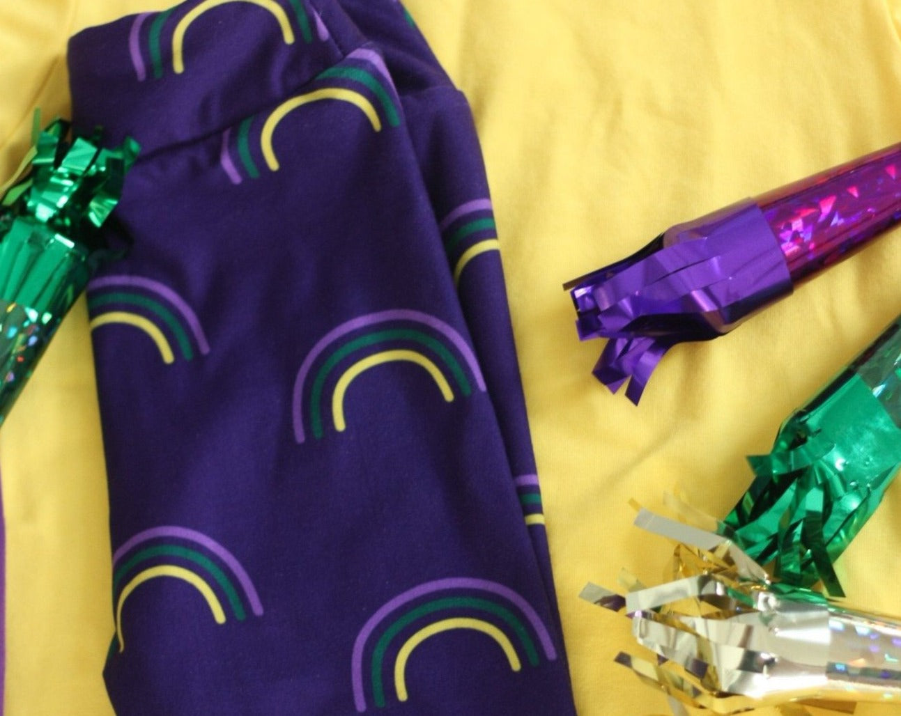 Mardi Gras Leggings: Rainbow Print