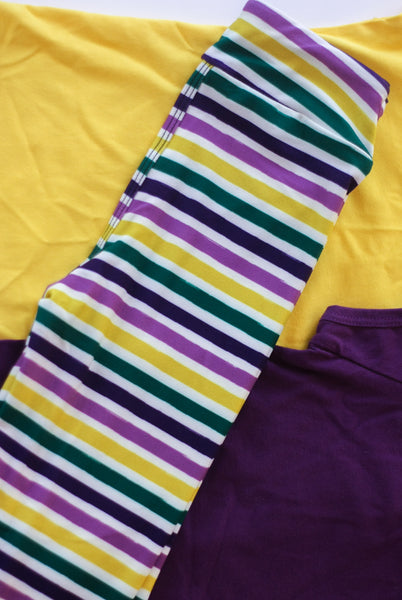 Mardi Gras Leggings: Painter's Stripes Print
