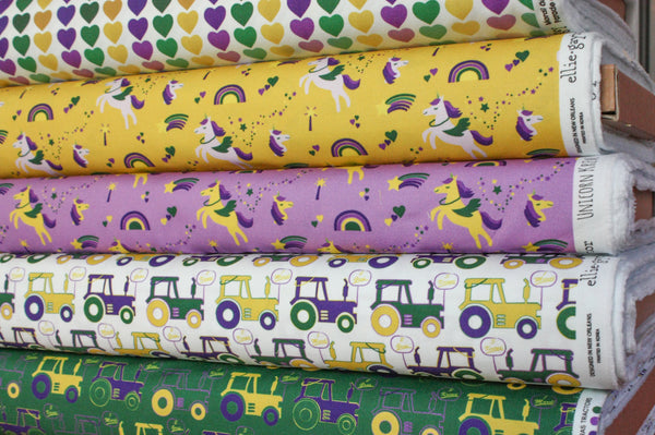 Fabric: Mardi Gras Tractors (White) | 100% Cotton Woven